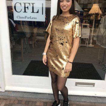 Paillet t-shirt dress gold