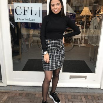 Tweed skirt black white