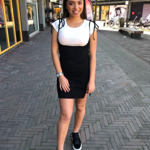 2 piece dress black white