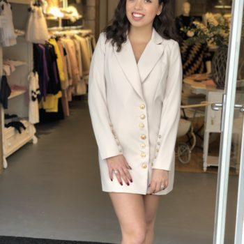 Button blazer dress beige