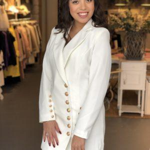 Button blazer dress white