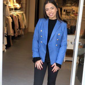 Denim button blazer blue
