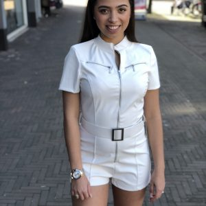 Leather look playsuit white