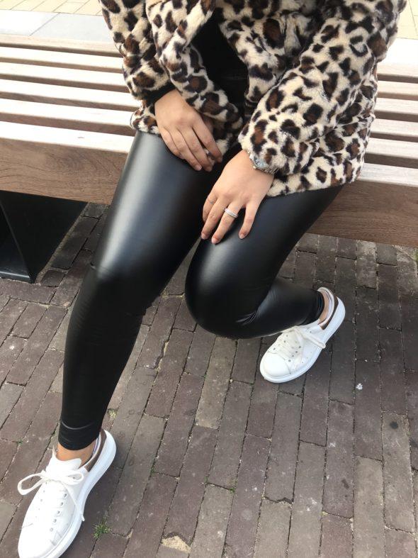 Leather look legging black
