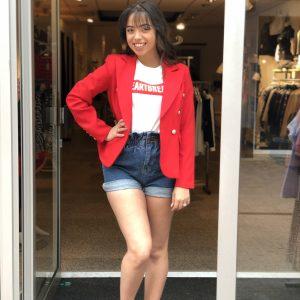 Button blazer red