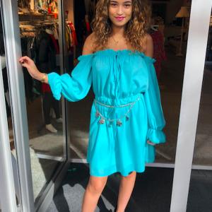 Off shoulder dress turquoise