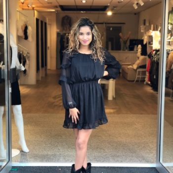 Black glitter ruffle dress