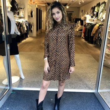 Golden dot tuniek dress brown
