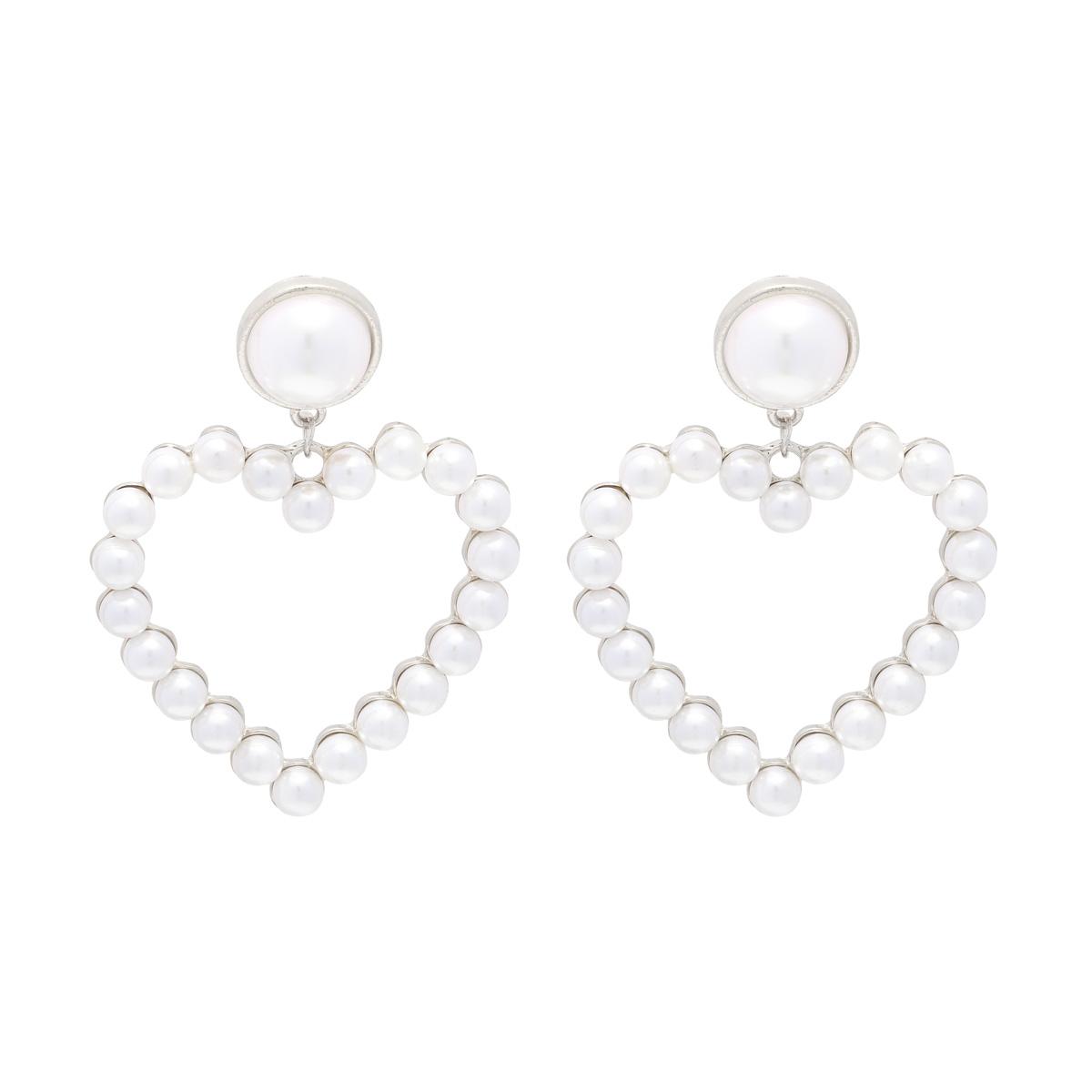 Earrings heart in shape silver