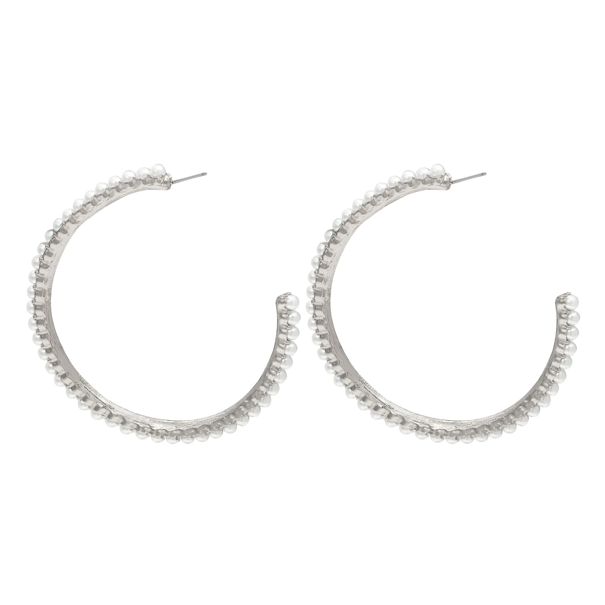 Earrings pearl hoops silver