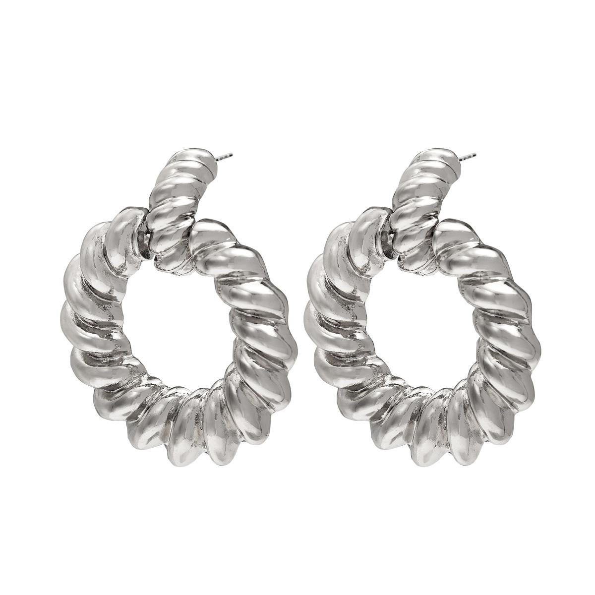 Earrings twisted hoops silver