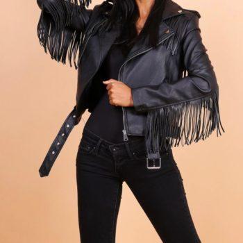 Leather look fringe jacket black