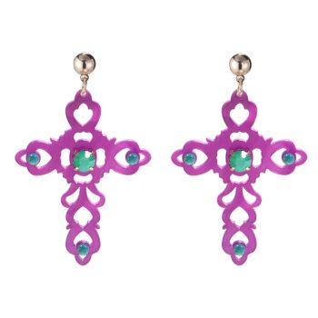 Earrings Baroque Cross Purple