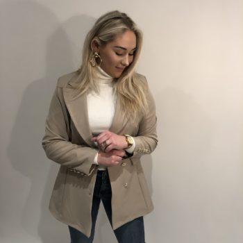 Long button blazer beige