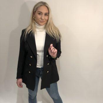 Long button blazer black