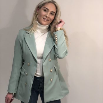Long button blazer mint