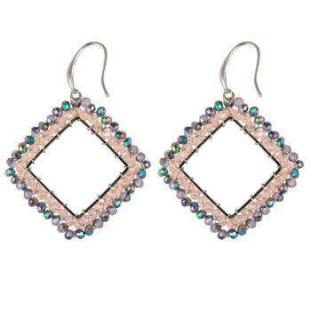 oorbellen small square beads pink