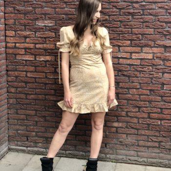 Stippel dress beige