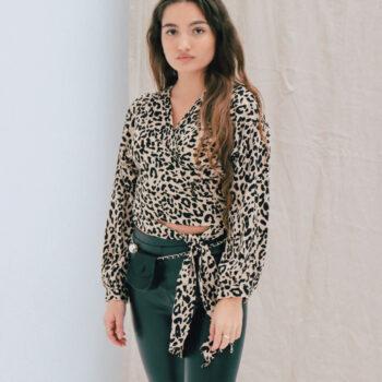 Leopard wikkel top