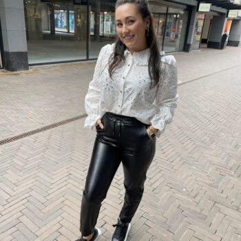 Leather look pants black