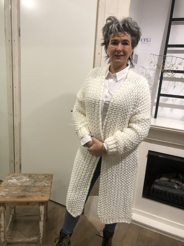 Grof gebreid vest off white