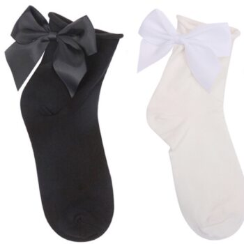 Sock cute bow black & white