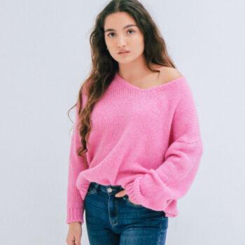 V hals sweater roze