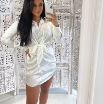Satin look dress white