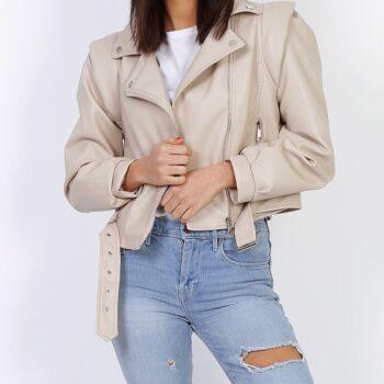 Leather look pof jacket beige.