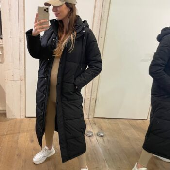 Basic gewatteerde jas zwart