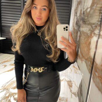 Leather look skort skirt gold